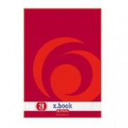 ORIGINAL Herlitz Articoli da ufficio 216283 Schulblock kariert Quaderno herlitz, A4, 50 fogli, FSC Mix, rigo 28 (a quadretti con 2 margini), carta senza legno, 70g/m² bianco, 4 fori, motivo vortice rosso