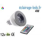 Ampoule LED MR16 RGBW 4W avec télécommande 12v ref mr16rgb-01