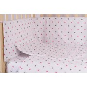 Lenjerie alba,stelute roz cu gri,5 piese, 120 x 60