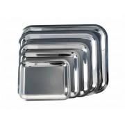 Tálca, szögletes, rozsdamentes acél, krómozott, 25 x 21cm (KHKE027)