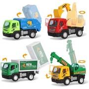 Sajani Kid's ABS Plastic Construction Vehicle Set- Dumper+JCB+Cement Mixer+Transportruck+GarbageTruck+Container+Crain(Pack of 4 Pcs)