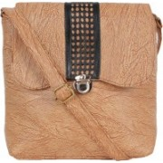 Kandel London Women Casual Tan Leatherette, PU, Cotton Sling Bag