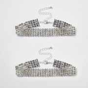 River Island Womens Silver tone diamante sparkly anklet pack