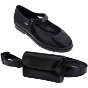 melissa Com Pochete Zapatos de Ballet para Mujer, Negro, 7 US
