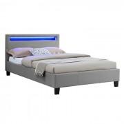 IDIMEX Lit simple MARISELA, 120 x 190 cm, avec LED intégrées et sommier, revêtement en tissu gris