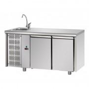 Tecnodom Tavolo Refrigerato 2 Porte GN 1/1 con Lavello Sinistro Cm 142 x 70 x 115 h