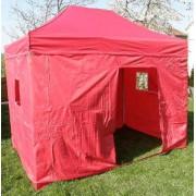 Záhradný párty stan DELUXE nožnicový + bočná stena - 3 x 4,5 m červená