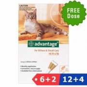 Advantage Kittens & Small Cats 1-10lbs 6 Dose + 2 Doses Free