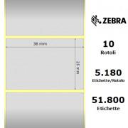 Etichette Zebra - Z-Ultimate 3000T Silver, formato 38 x 25
