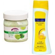 Florozone Sun Screen Lotion With SPF 25 Pink Root Green Lemon Scrub 500ml