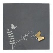 "Placheta piatra ""fluture"" bronz masiv"