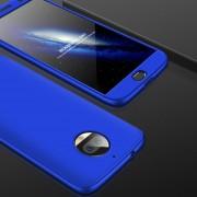 GKK Para Motorola Moto G5s Plus Tres Párrafo 360 Grados De Cobertura Completa PC Funda Protectora Tapa Trasera (azul)