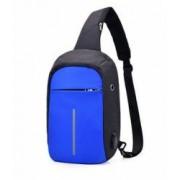 Mini-Rucsac antifurt laptop tableta maxim 10 cu port USB incarcare telefon albastru-negru