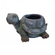 Esschert Design USA Animal Shaped Resin Planters Grey Large Turtle Planter