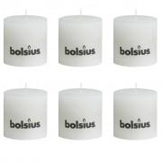 6 x Bolsius Rustic Pillar Candle 100 x 100 mm White