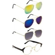 NuVew Aviator, Round Sunglasses(Clear, Blue, Golden, Grey)