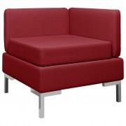 vidaXL Модулен ъглов диван с възглавница, текстил, виненочервен