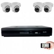 Kit vidéosurveillance IP 4 dômes 1mp 20m