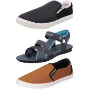Chevit Men's Combo Pack of 3 Sandal & Casual Shoes (Loafers & Floaters Sandals) TR-605+143+148-6
