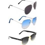 Zyaden Aviator, Aviator, Clubmaster Sunglasses(Black, Blue, Black)