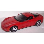 Motormax 1/24 Scale Diecast 2005 Chevrolet Corvette C6 in Color Red