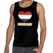 Bellatio Decorations Zwart Nederland hart tanktop heren