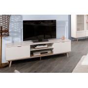 Lifestyle4Living TV-Lowboard in weiß mit einem Unterbau in Sonoma Eiche-Nachbildung und Füßen in Esche massiv, 2 Türen und 2 offene Fächer, Maße:B/H/T ca. 160/50/40 cm