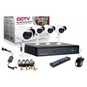 Kit sistem de supraveghere cu 4 camere video exterior infrarosu DVR Internet D1
