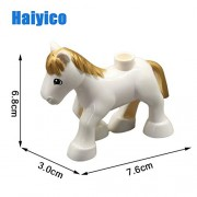 Generic Mini Animal Accessories Big Building Blocks Classic Zoo Bricks Sets Compatible with Duploe Toys Children Baby DIY Gift gd-Hair White Horse