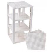 "Premium White Stackable Base Plates 4 Pack 6"" X 6"" Baseplate Bundle With 30 White Bonus Building Bricks (Lego Compatible) Tower Construction"