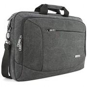 15- 15.6 inch Laptop Messenger Bag Evecase 15.6 Canvas Messenger Bag - Dark Grey w/ Handles Shoulder Strap and Multiple Accessory Pockets (for 15.6 in laptops ultrabooks or tablet pc)