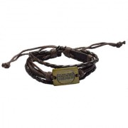 Men Style Genuine Leather Friend Square Rope Adjustable Multi-Layer Wristband for Men SBr007007 Brown and Gold Leather Bracelet For Men and Women