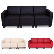 Modular 3-Sitzer Sofa Couch Lyon, Kunstleder ~ Variantenangebot