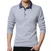 Hunzed Men Clothing Hunzed Camisa de manga larga para hombre con solapa, entallada, de algodón, con botones, informal, para hombre, Gris, Large