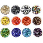 eshoppee 240 gm glass beads / Seed beads size 3mm (8/0) for jewelery making Set of 12 Colours 20Gm X 12 art and craft diy kit (family colors)