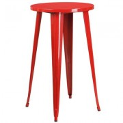 Flash Furniture 24Inch Round Metal Bar Table -Red, Model CH5108040RED