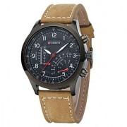 Curren Round Dial Black Leather Quartz Watch For Men 1 year warranty