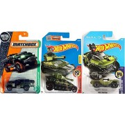 Tank Hot Wheels MBX Military 3-Pack UNSC Halo Warthog #2 Jeep + Tanknator Green Camo #155 New Model 2015 & Matchbox '17 Sahara Survivor #122 Rugged All Terrain Vehicle in PROTECTIVE CASES