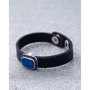 Dare by Voylla Black CZ Studded Milestone Leather Bracelet