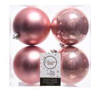 Geen Oud roze kerstversiering kerstballen 8x kunststof 10 cm