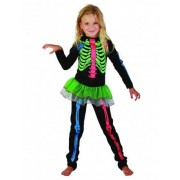 Disfarce de esqueleto colorido menina