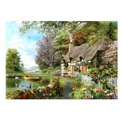 Chamberart Jigsaw Puzzle 1000 Pieces Premium Licensed Puzzles Posters Included (Cottage by the Lake)