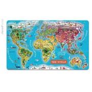 JANOD Mapa świata - puzzle magentyczne, - 92 elementy w zestawie