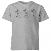 Disney Mickey Mouse Ontwikkeling Drie Poses Kinder T-Shirt - Grijs - 7-8 Years - Grijs