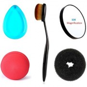 Kelley Foundation Powder Concealer Oval Blending Brush Round Beauty Blender Silicone Translucent Blue Anti-sponge Makeup Applicator 10x Magnification Hand Size Compact Makeup Mirror With Suction Cups Lady Styling Bun Maker Medium Size Extreme Hair Vol