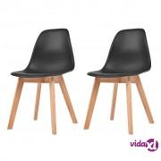 vidaXL Blagovaonske stolice 2 kom crne plastične