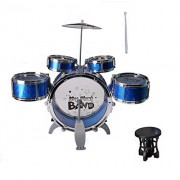 IndusBay Kids Musical Jazz Drum Set Instrument Drum Play Set with 5 Drums, Cymbal & Chair for Kids - Blue