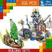 AlanWhale Medieval Lion Royal Knights Gryphon Castle Human VS Night Elf Boat Enlighten Building Kit 2315 (656 Piece)