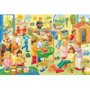 Puzzle Schmidt - O zi la gradinita, 3x24 piese, include 1 poster (56201)