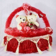 Beautiful Red Decorated Heart Cake Plush Cushion with Love Couple Teddy Bears